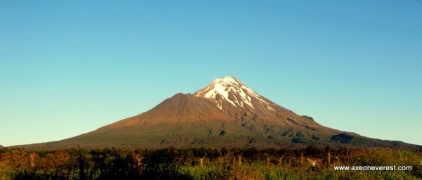 Mt Taranaki looking beautiful in the morning as we drive up her slopes. Fantham's Peak is the subsidiary summit on the left of the main summit.