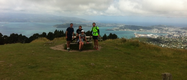 A happy Dave (right side of photo in green) after completing the Skyline Run Wellington Dec 2014.