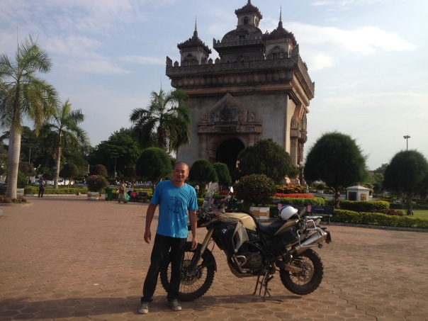 At Vientiane, Laos. The Arc de Trioumph or Patuxai Arc. Can't afford the real thing in France so this will do for now. (May, 2015)