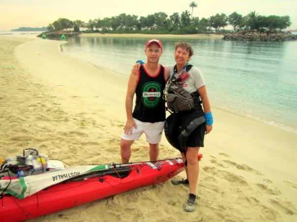 Saying goodbye to Sandy on Tanjung beach.