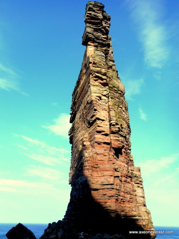 Looking up at the Old Man of Hoy from the base.