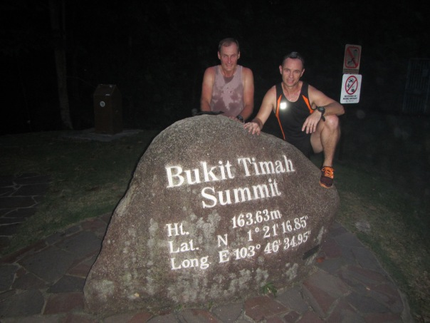With Alan Silva on the summit of Bukit Timah Hill - the start point of Peak to Peak 2015.