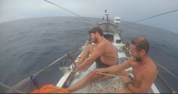Hauling in anchor