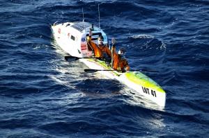 Trans Tasman kayakers near goal